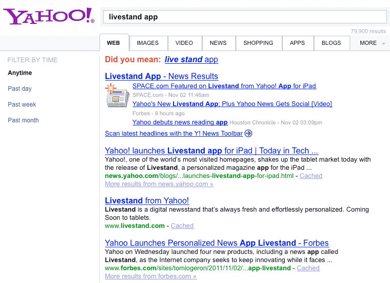 Yahoo Livestand app for the iPad